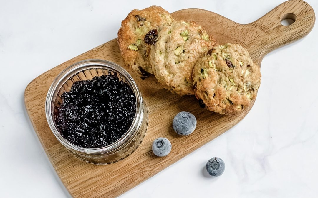 COURGETTE SCONES WITH BLUEBERRY JAM