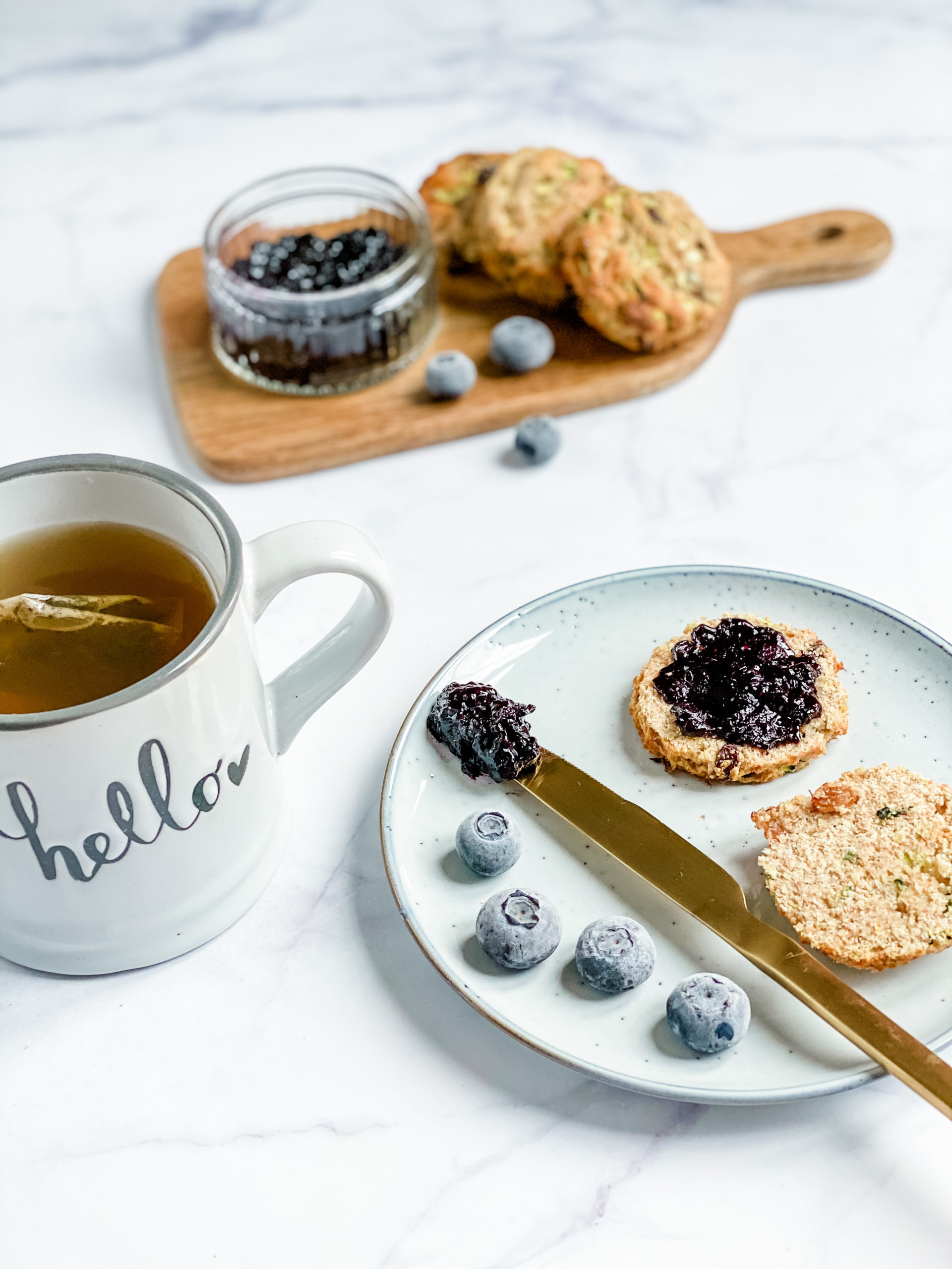 courgette scones and blueberry-chia jam