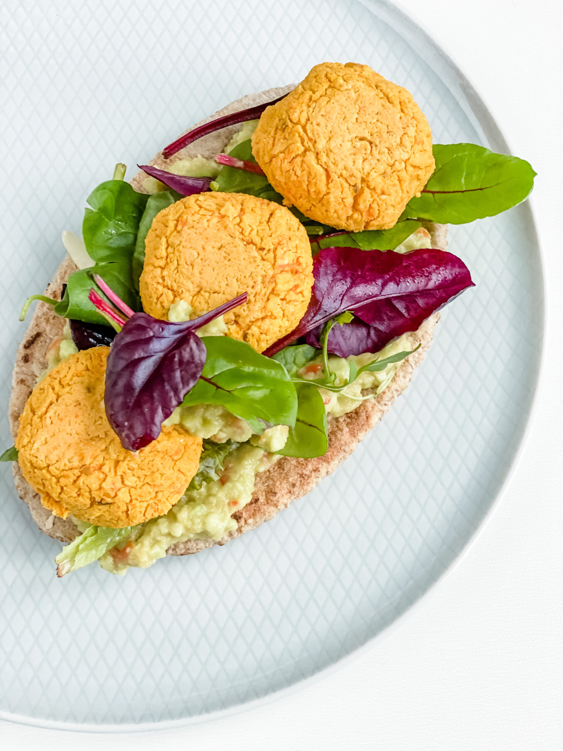 carrot falafel with guacamole